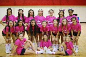 Diboll Junior High Cheerleaders wearing the shirts that they were selling for the fund raiser for which the proceeds were sent to you honoring Kim Vann and her battle with Colon Cancer.